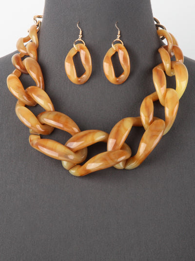 Chunky Big Curb Link Chain Statement Necklace Set - Brown