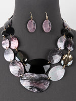 Chunky Layered Statement Bib Necklace Set - Grey