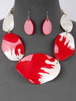 Chunky Linked Pearlessence Necklace Set - Red White