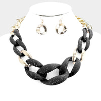 Chunky Speckled Matte Chain Link Necklace - Gold and Black