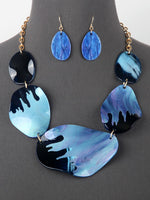 Chunky Linked Pearlessence Statement Necklace Set - Blue