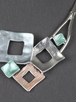 Chunky Square Shape Bib Statement Necklace Earring Set