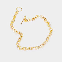 Classic Chunky Chain Oval Link Fashion Statement Gold Choker Necklace