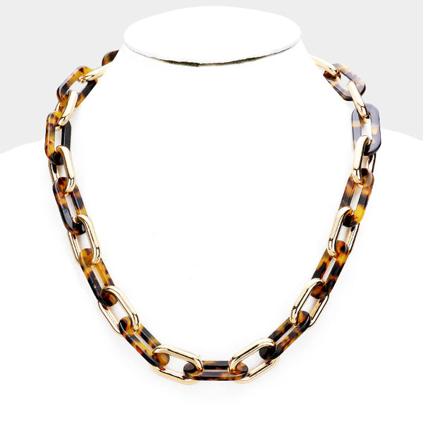 Classic Chunky Chain Oval Link Statement Gold Fashion Necklace