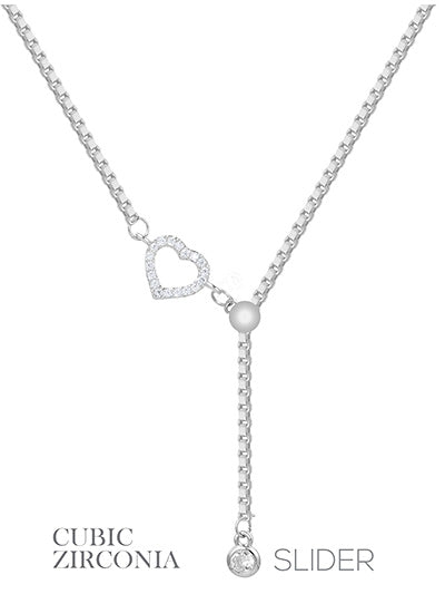 Crystal CZ Heart  Pendant Delicate Slider Chain Necklace - Silver Tone
