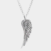 Crystal Embellished Angel Wing Pendant Antique Silver Tone Necklace