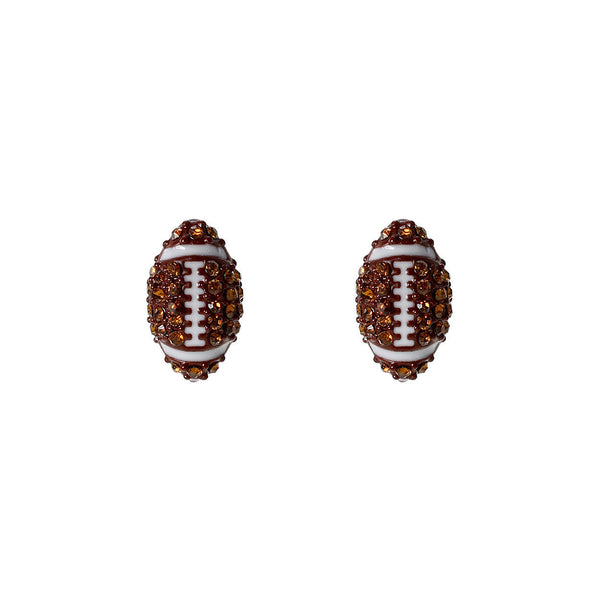 Crystal Football Stud Brown and White Earrings