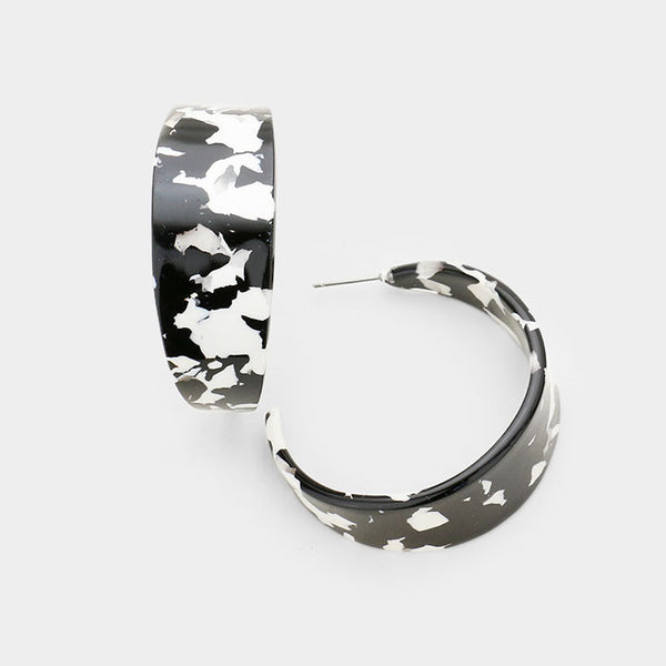 DazzledByJewels Black/White Resin Hoop Earrings