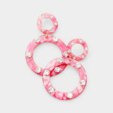 Double Round Crystal Embellished Hoop Stylish Fashion Earrings - Pink