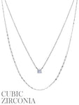 Double Layered Crystal CZ Silver Tone Delicate Necklace
