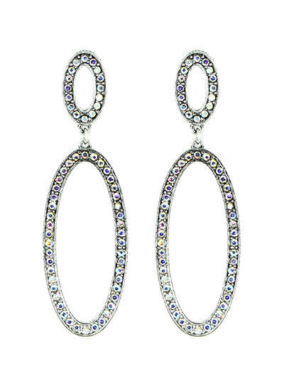 Double Oval AB Rhinestone Aurora Borealis Hoop Earrings
