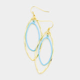 Double Oval Hoop Blue and Gold Dangle Earrings