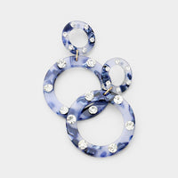 Double Round Crystal Embellished Blue Hoop Earrings