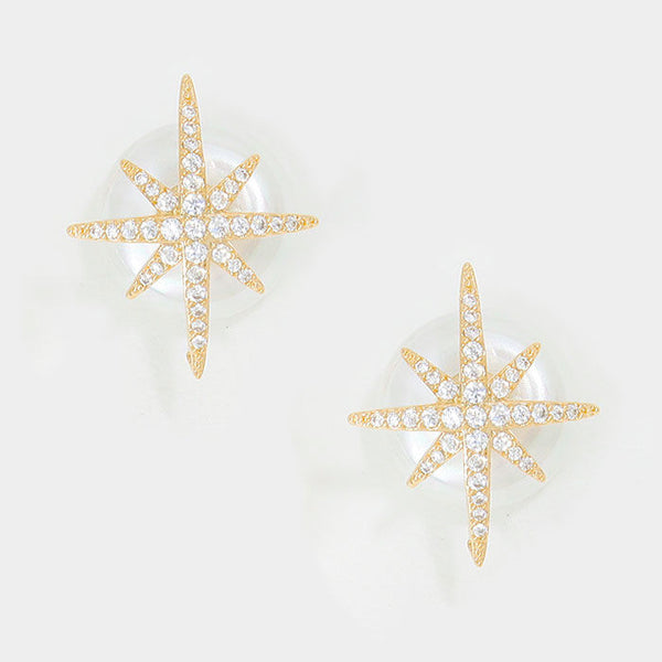 Double Sided Crystal CZ Star Faux Pearl Stud Front Back Gold Tone Earrings