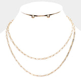 Double Strand Chain Link Necklace Set