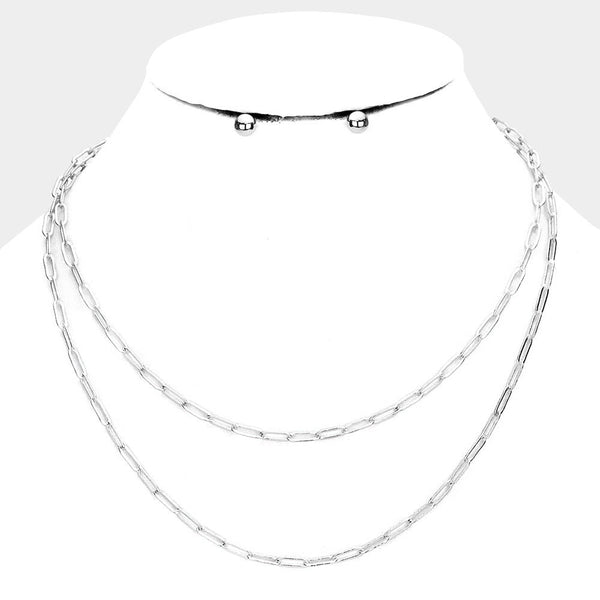 Double Strand Chain Link Silver Tone Necklace Set