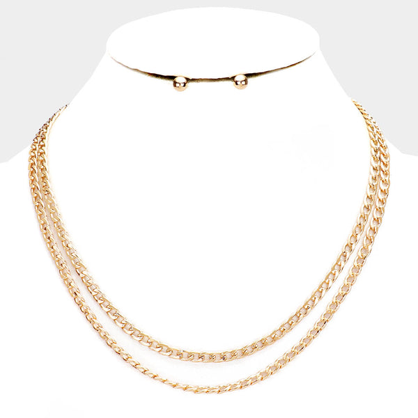 Double Strand Curb Chain Gold Tone Necklace
