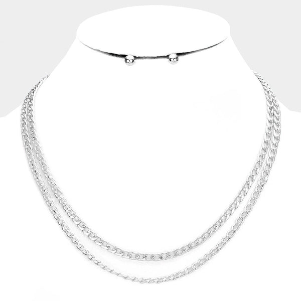 Pre-Layered Double Strand Silver Tone 2- Row Chain Necklace