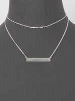 Minimalist Doubled Layered Bar Necklace - Silver Tone