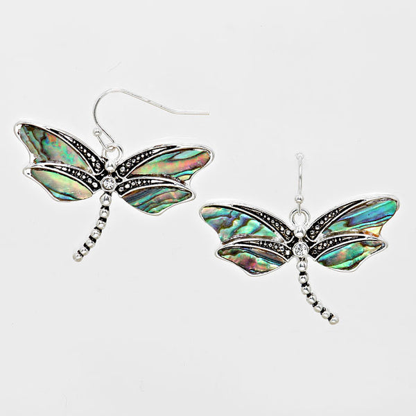 Dragonfly Abalone Shell Accent Burnished Silver Tone Earrings