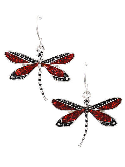 Dragonfly Dangle Drop RED Glitter Silver Tone Fashion Jewelry Earrings