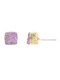 Druzy Stone Gold Tone Square Stud Earrings