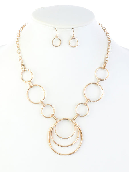 Elea Hammered Link Rings Statement Fashion Costume Necklace Set