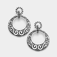 Embossed Metal Double Hoop LARGE Antique Silver Tone Gypsy Boho Earrings