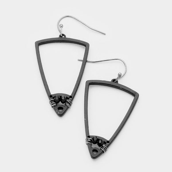 Triangle Shape Double Rhinestone Bead Matte Black Earrings