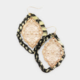 Faux Leather Moroccan Filigree Dangle Earrings