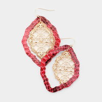 Faux Red Leather Moroccan Filigree Dangle Costume Fashion Earrings