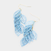 Textured Light Blue Leaf Filigree Drop Dangle Earrings