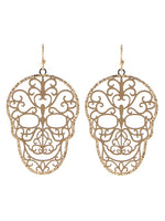 Sugar Skull Day of the Dead Filigree Gold Tone Earrings