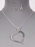 Floating Coiled Heart Wire Pendant Necklace Set