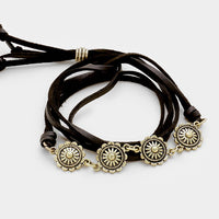 Floral Disc Link Black Faux Leather Wrap Bracelet