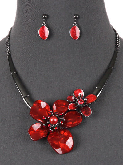 Flower Red Statement Necklace Earrings Set