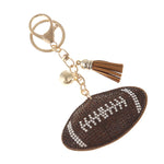 Football Rhinestone Ornament Key Chain Handbag Charm Accessory