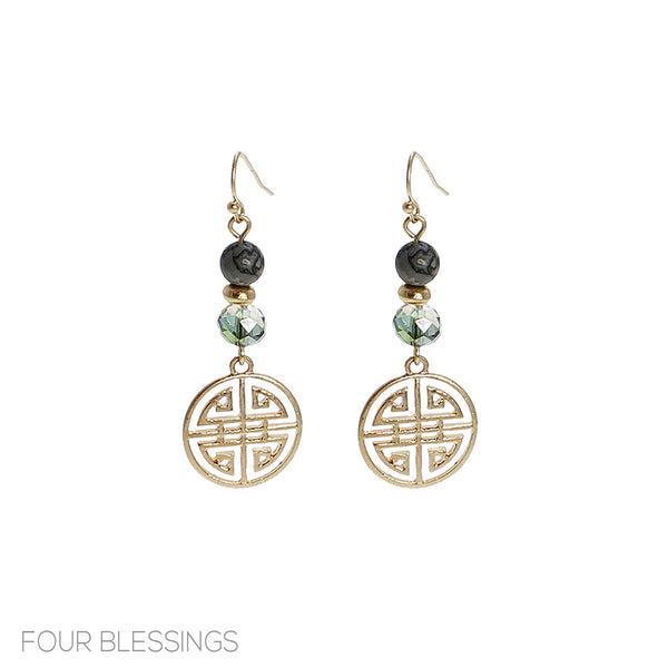 Four Blessings Dangle Lava and AB Beaded Earrings