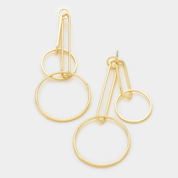 Geo Double Drop Dangle Hoop Earrings