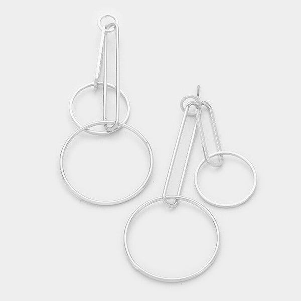 Geo Double Drop Dangle Hoop Silver Tone Earrings