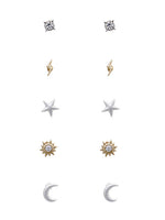 Geo Stud Earrings 5 Pair Minimalist Moon Star Lighting Bolt Earrings