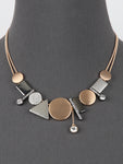 Geometric Statement Gold Silver Hematite Necklace
