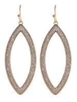 Gold Bling Oval Drop Earrings
