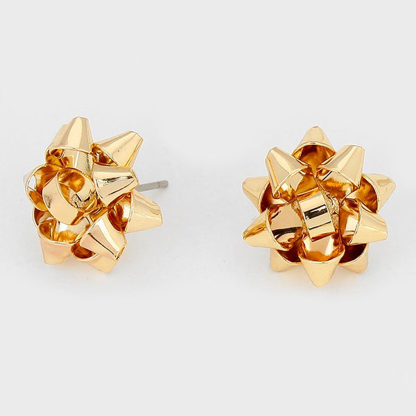 Gold Metal Christmas Gift Bow Stud Earrings