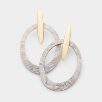 Gold Resin Drop Gray Oval Hoop Earrings