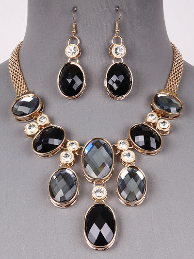 Gold Tone Black Rhinestone Glass Stone Bib Necklace Earrings Fashion Jewelry Set