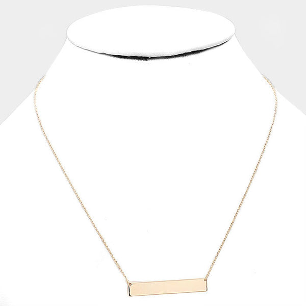 Minimalist Gold Tone Horizontal Bar Necklace