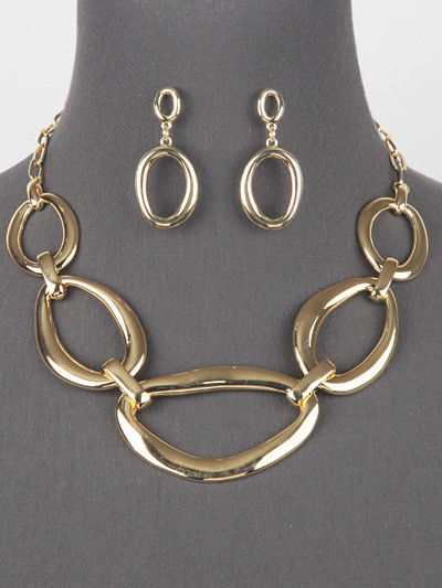 Gold Tone Multi Shaped Link Statement Necklace Set