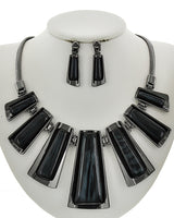 Chunky Graduating Bar Statement Necklace Earrings Set- Black