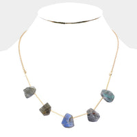 Gray Abstract Natural Stone Station Fashion Necklace
